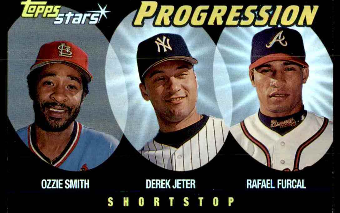 2000 Topps Stars Progression Ozzie Smith Derek Jeter Rafael Furcal #P6 card front image