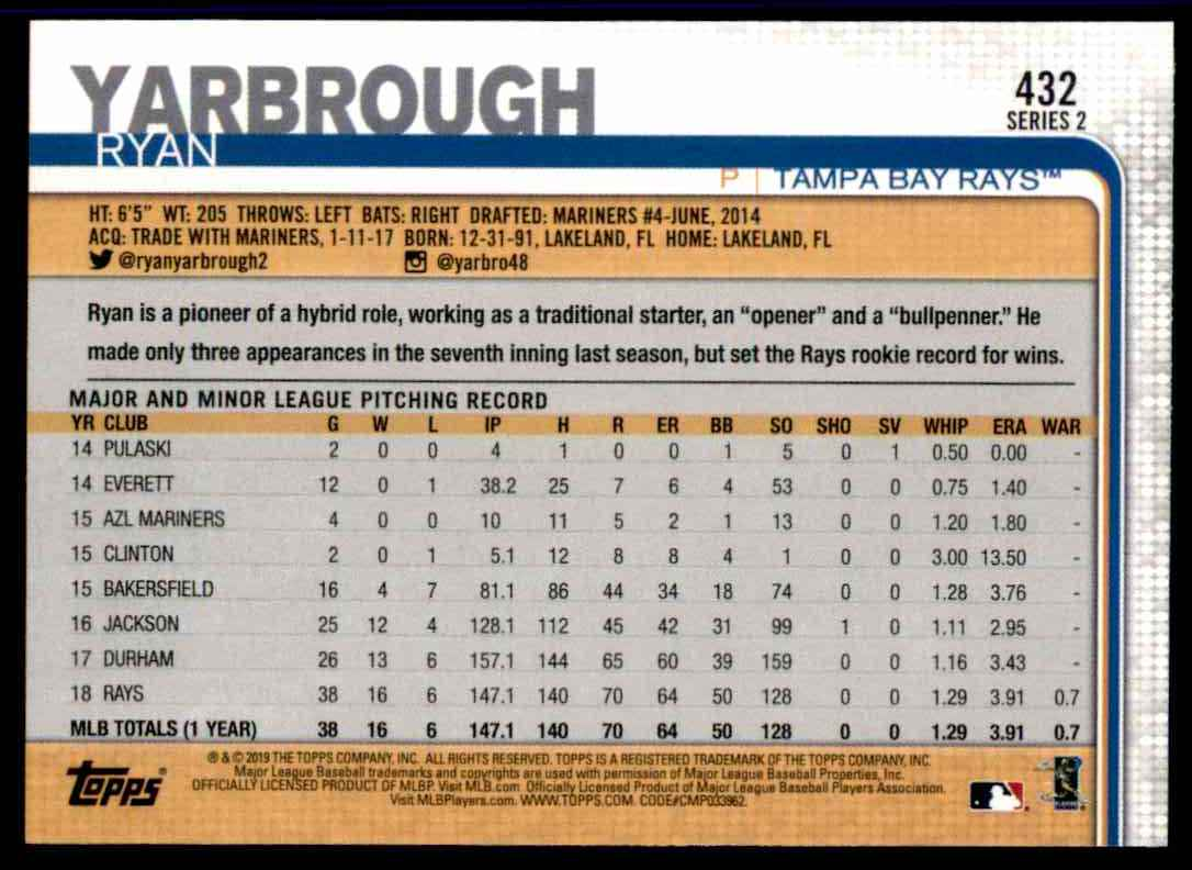 2019 Topps Series 2 Ryan Yarbrough #432 card back image