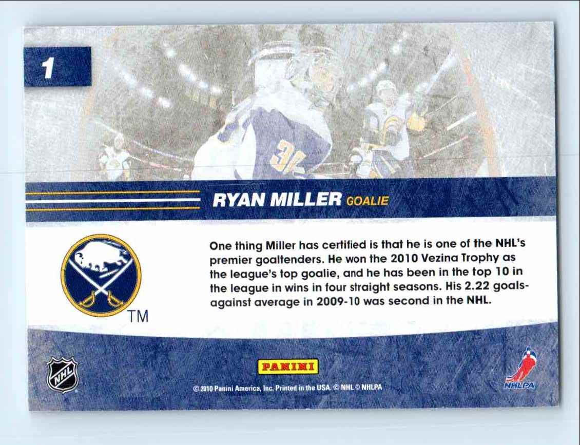 2010-11 Score Net Cam Ryan Miller #1 card back image