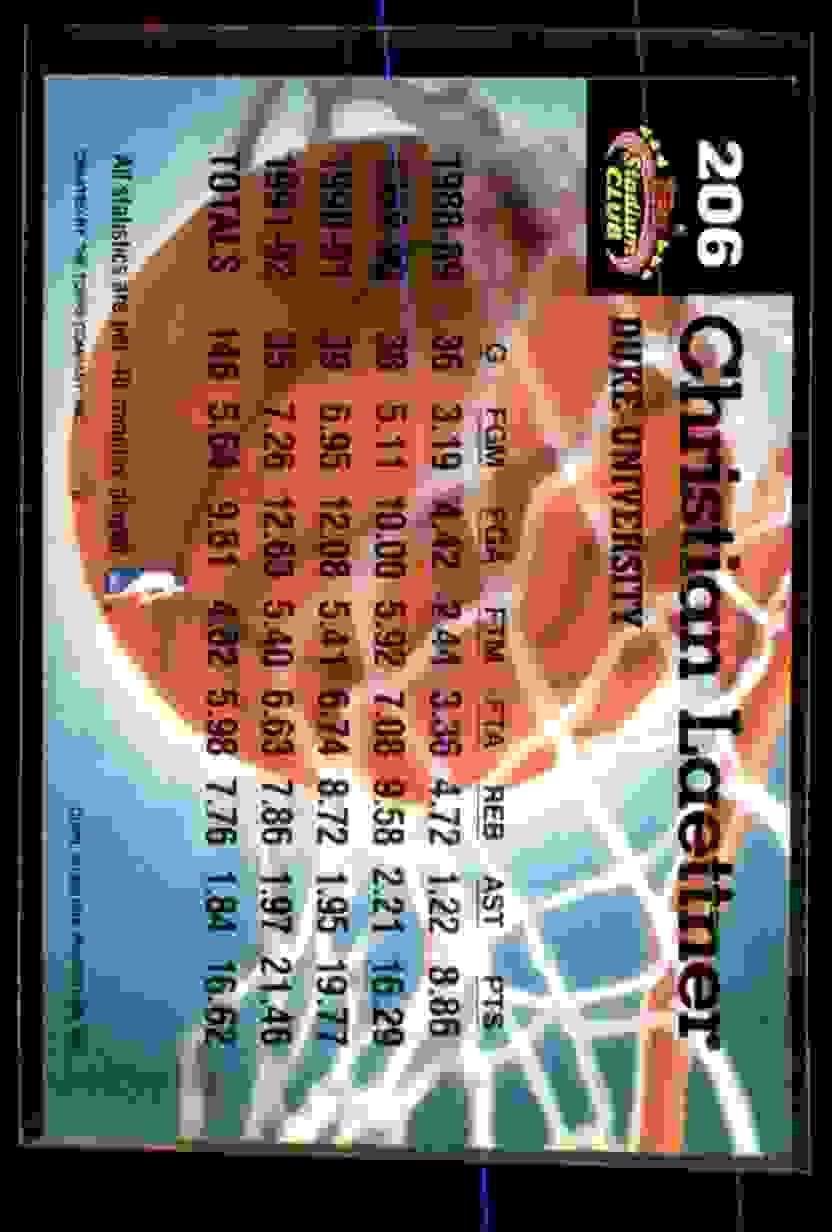 1992-93 Stadium Club Christian Laettner MC #206 card back image