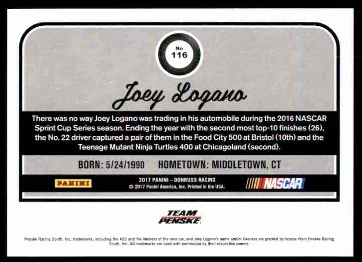 2017 Donruss Joey Logano #116 card back image