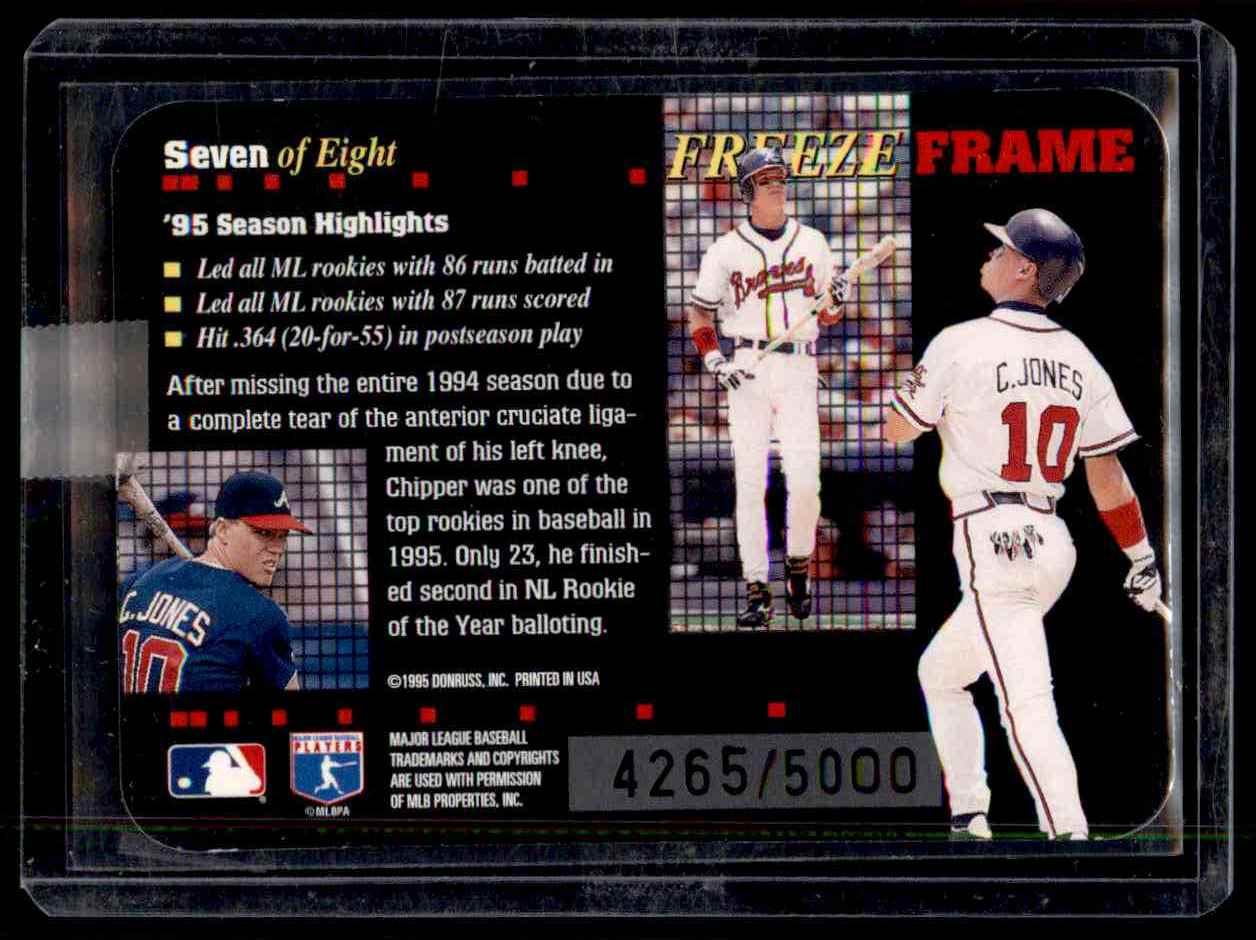 1996 Donruss Freeze Frame Chipper Jones #7 card back image