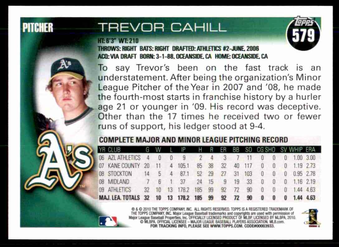 2010 Topps Trevor Cahill #579 card back image
