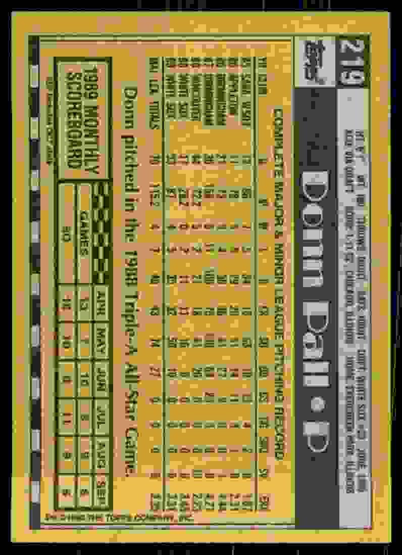 1990 Topps Donn Pall #219 card back image