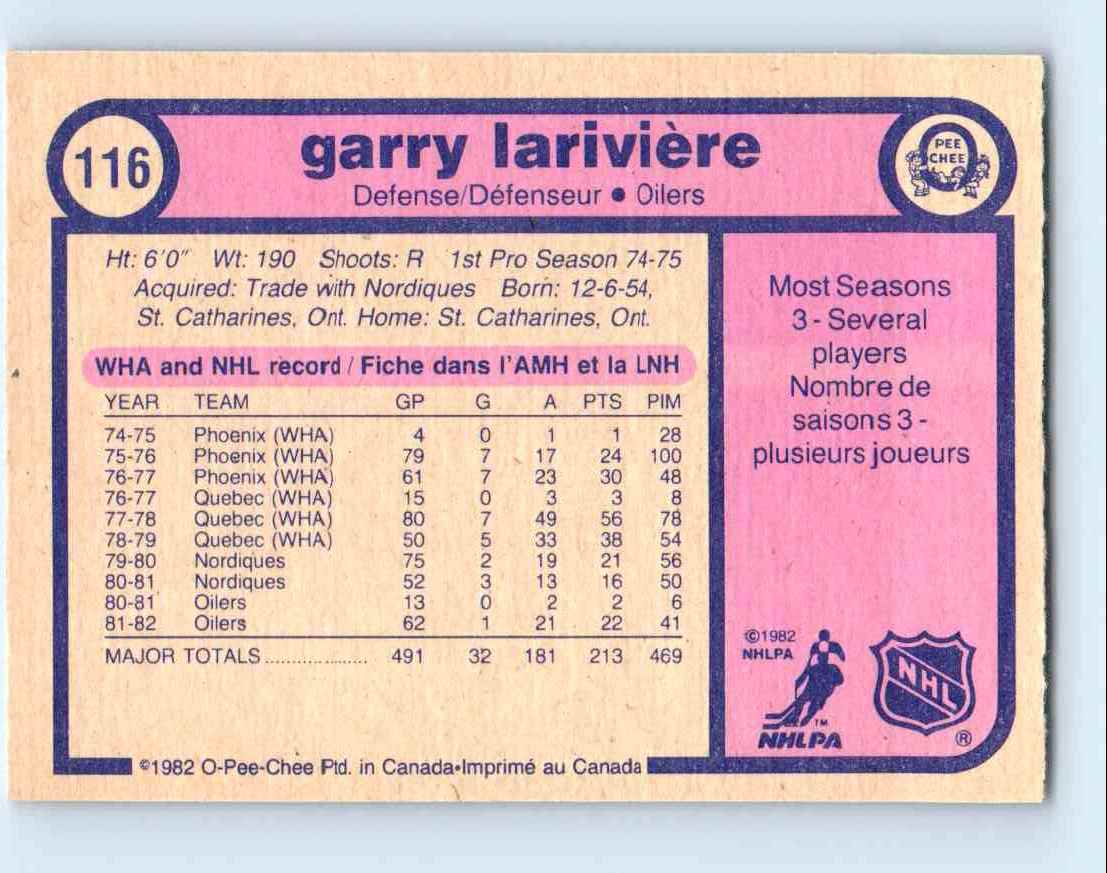 1982-83 O-Pee-Chee Garry Lariviere #116 card back image