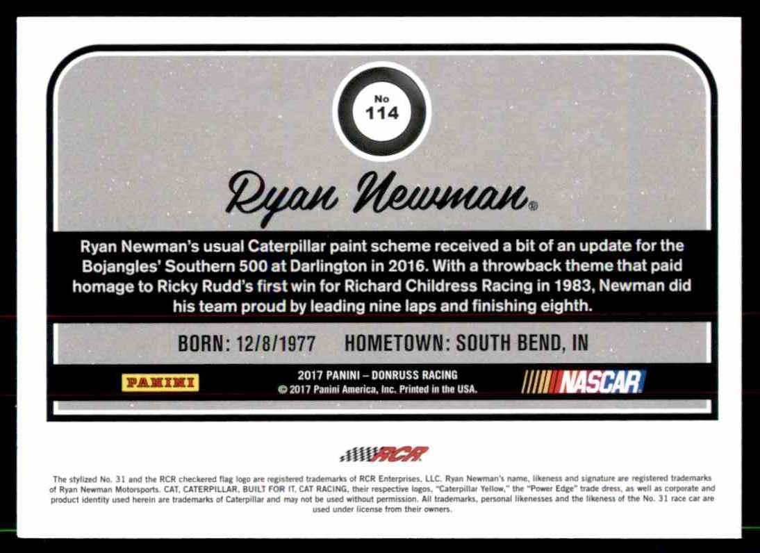 2017 Donruss Ryan Newman #114 card back image