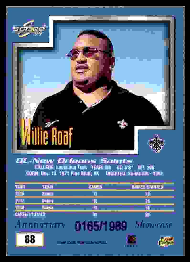 1999 Score Showcase Willie Roaf #88 card back image