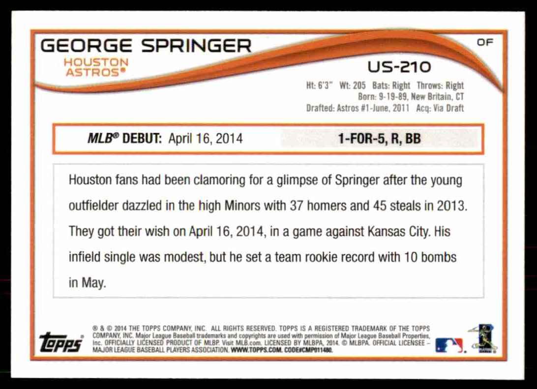 2014 Topps Base George Springer #US-210 card back image