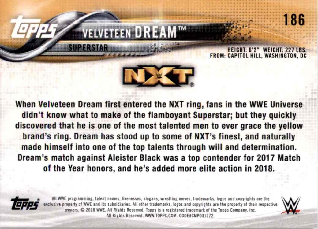 2018 Topps Wwe Then Now Forever Velveteen Dream #186 card back image