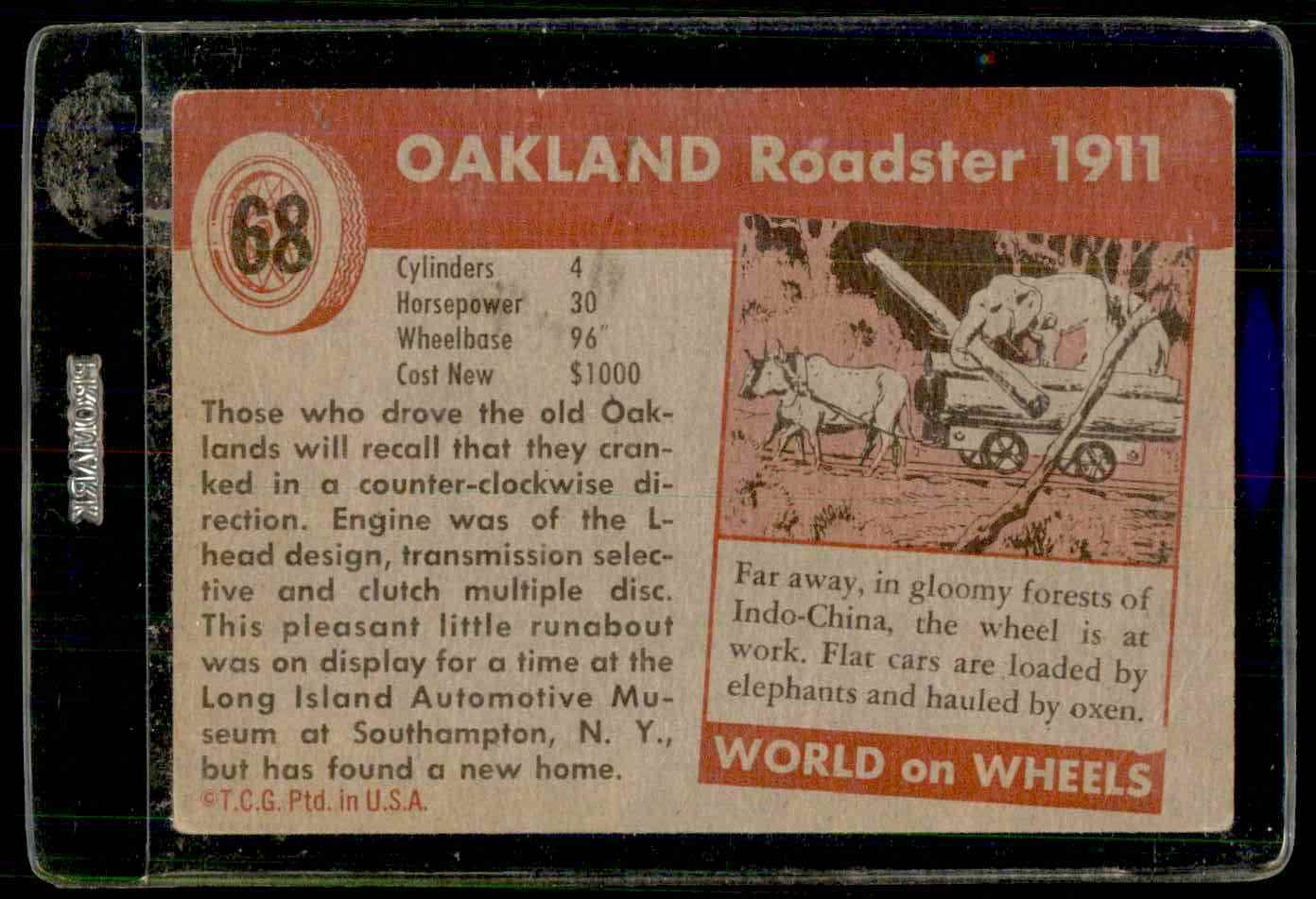 1954 Topps World On Wheels Oakland Roadster 1911 #68 card back image