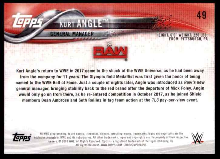 2018 Topps Wwe Kurt Angle #49 card back image