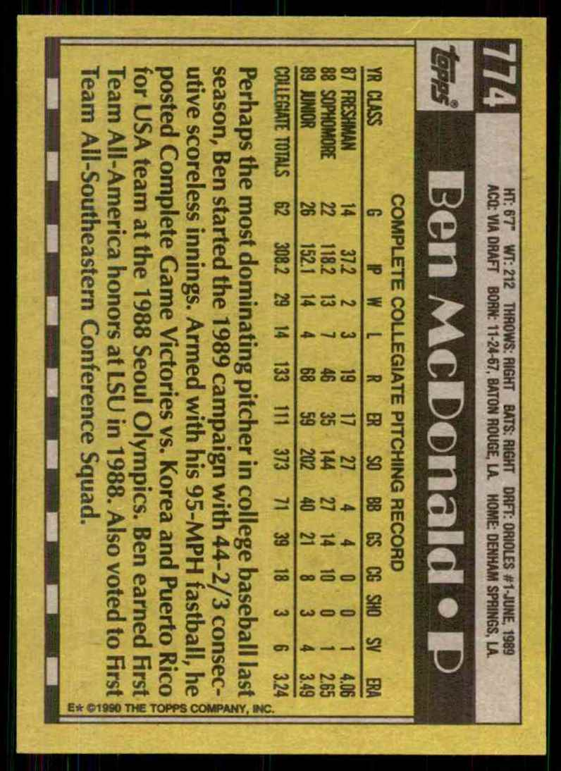 1990 Topps Ben McDonald RC #774 card back image