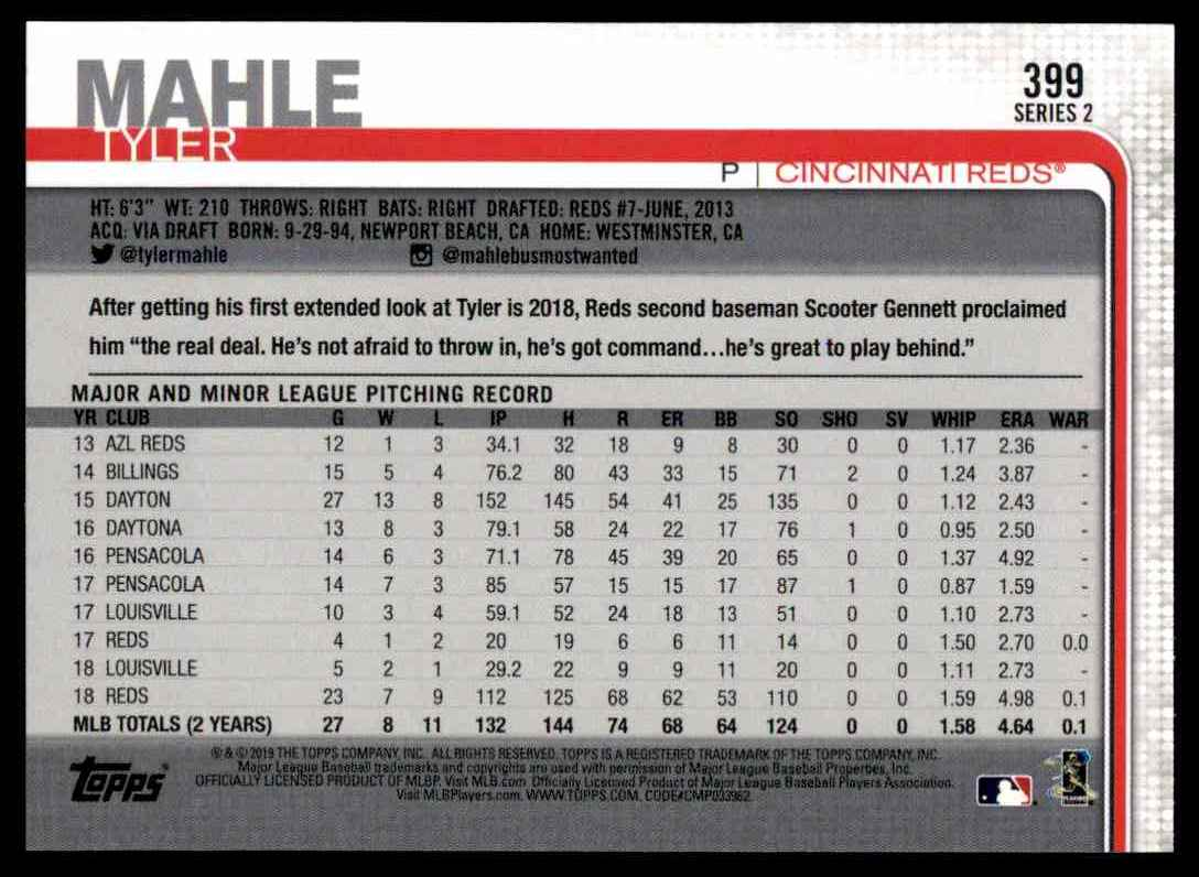 2019 Topps Series 2 Tyler Mahle #399 card back image