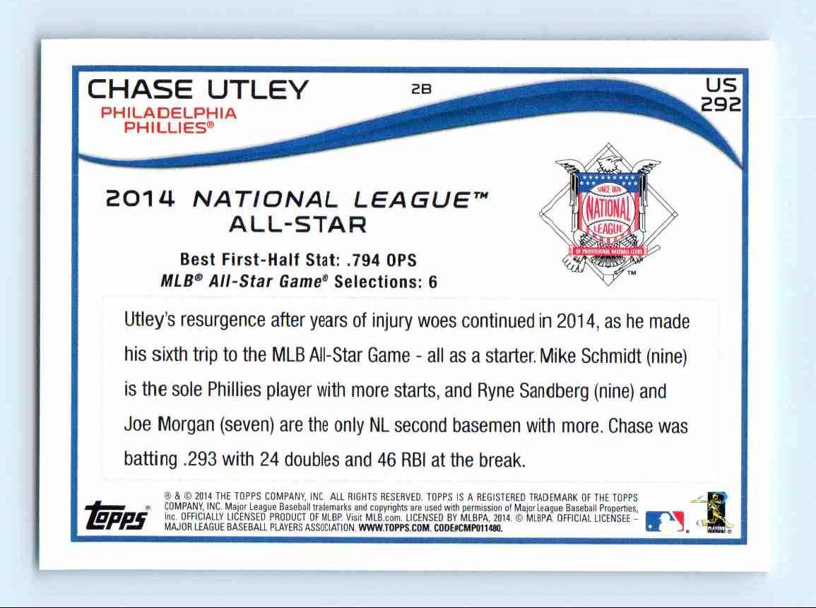 2014-15 Topps Update Chase Utley - Philadelphia Phillies #US 292 card back image