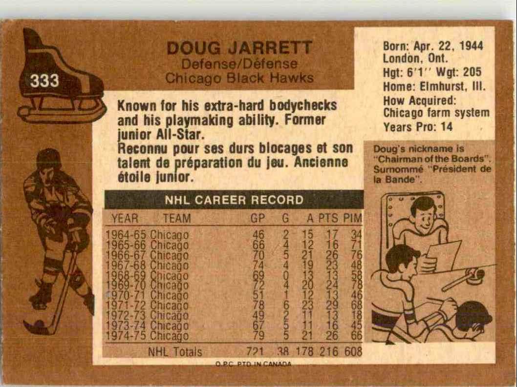 1975-76 O-Pee-Chee Doug Jarrett #333 card back image