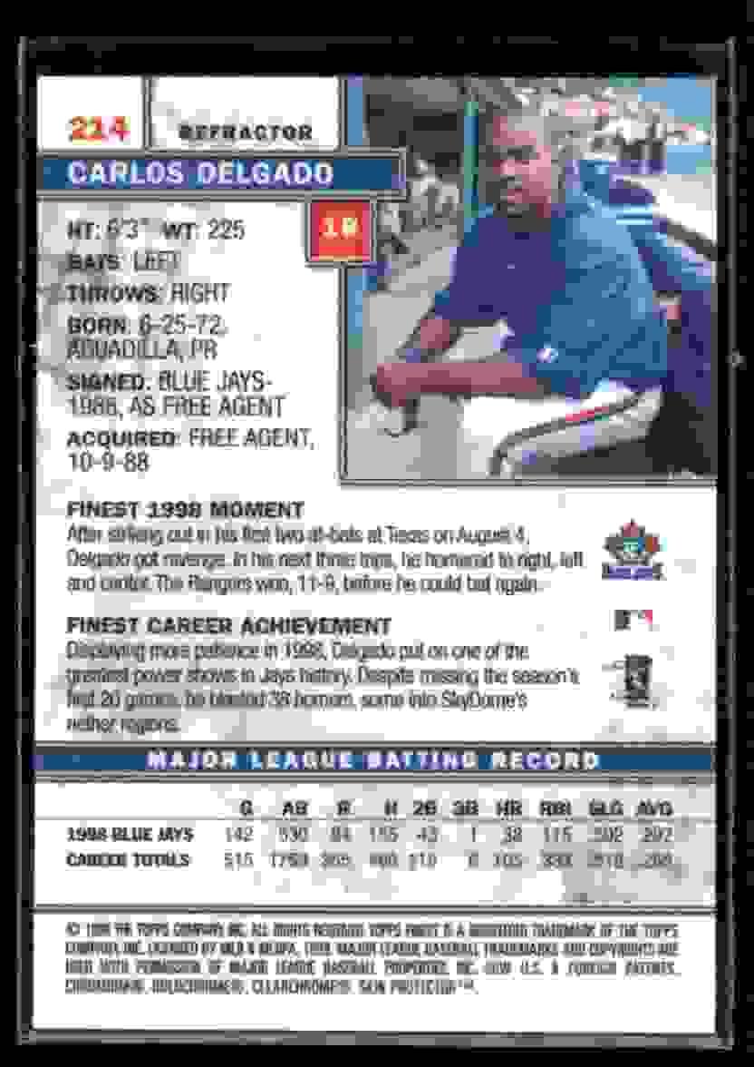 1999 Finest Refractor Carlos Delgado #214 card back image