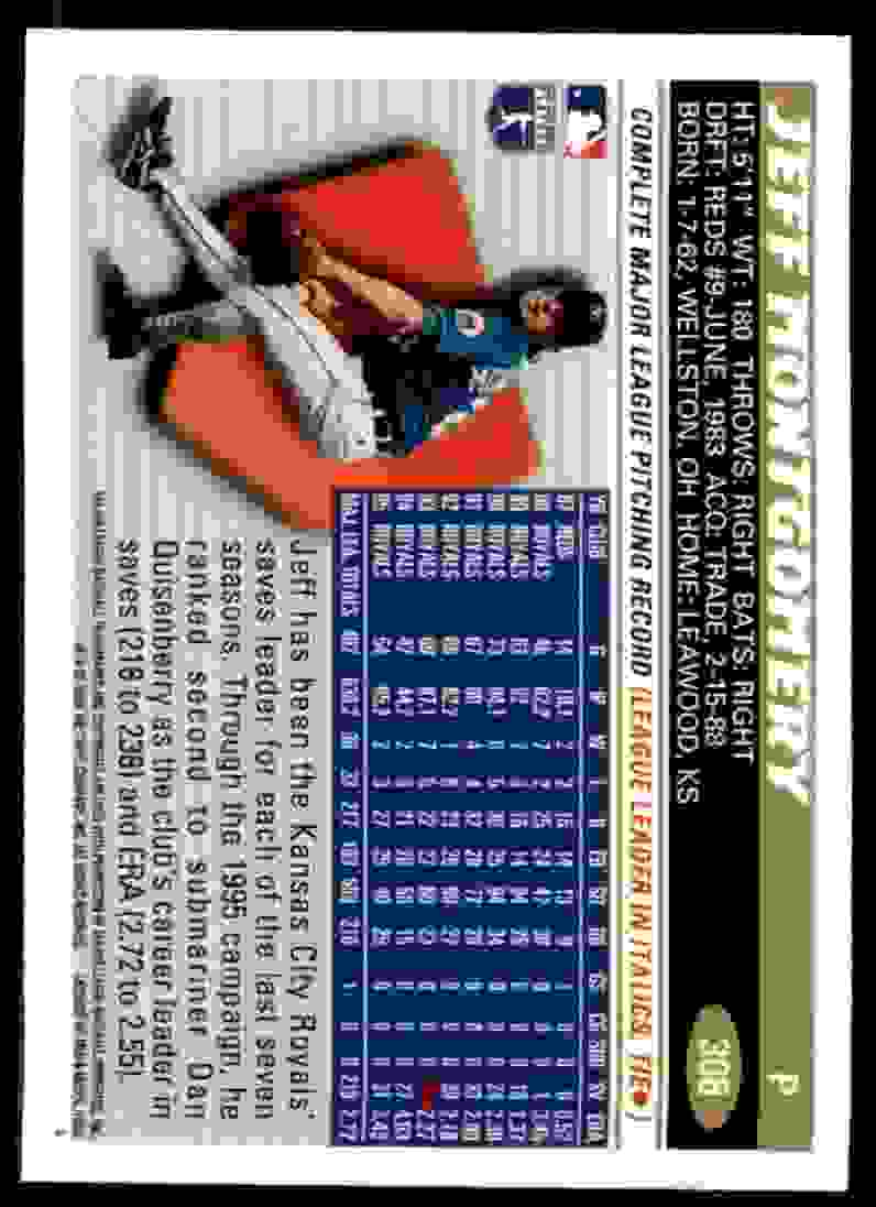 1996 Topps Jeff Montgomery #308 card back image