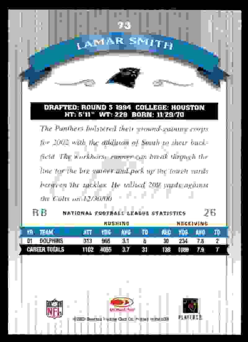 2002 Donruss Classics Lamar Smith #73 card back image