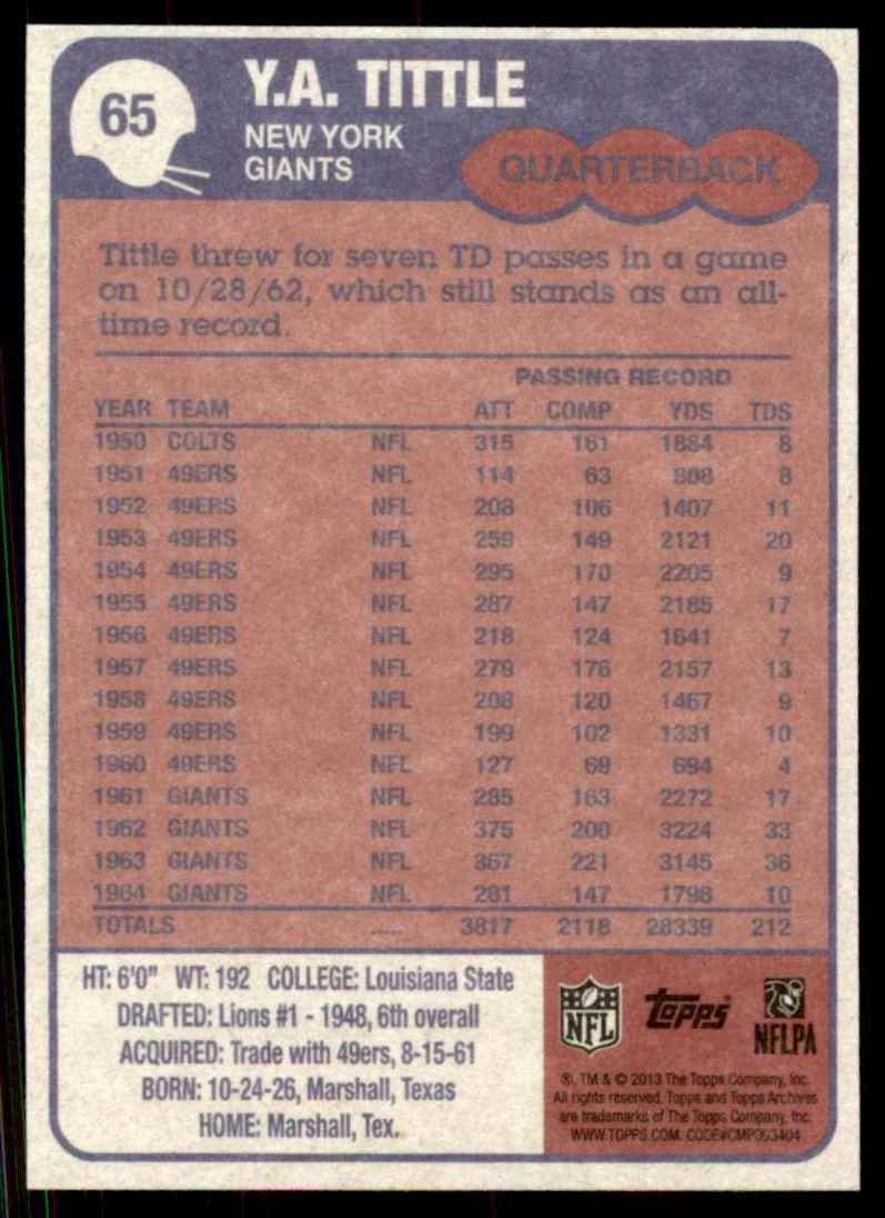 2013 Topps Archives Y.A. Tittle #65 card back image