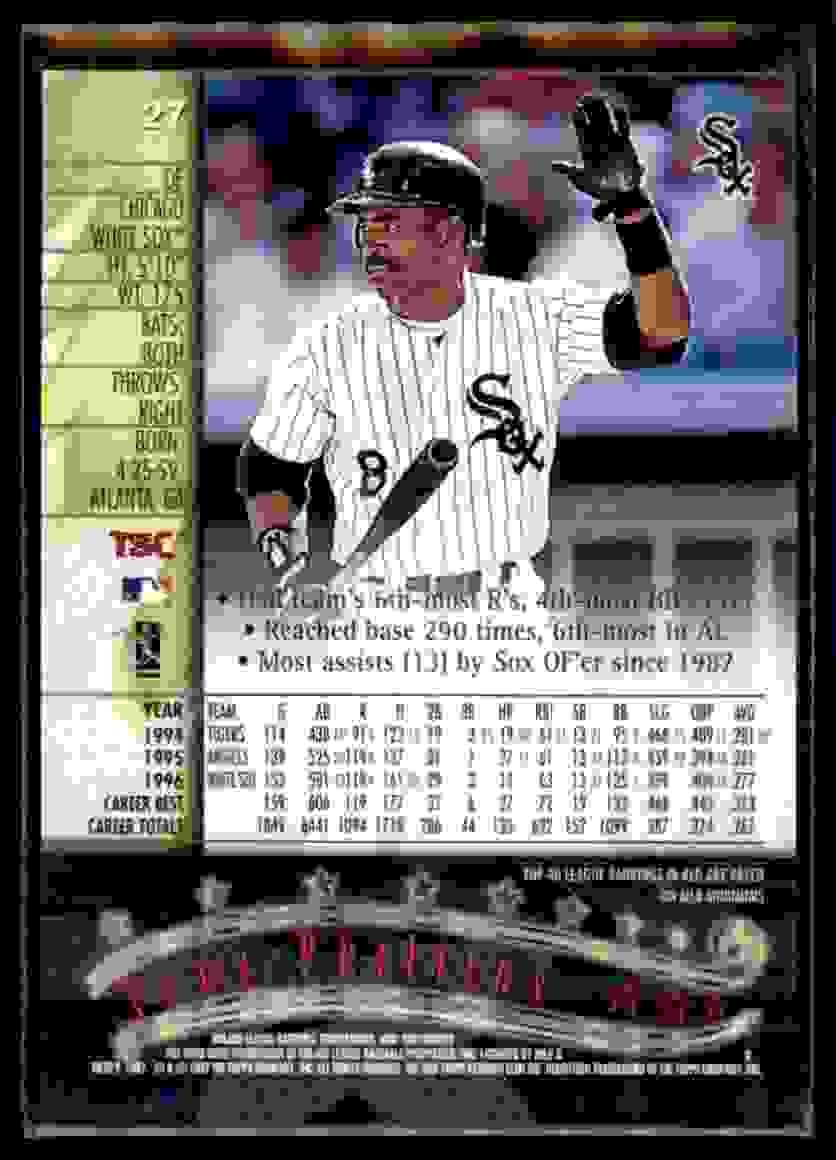 1997 Stadium Club Matrix Tony Phillips #27 card back image