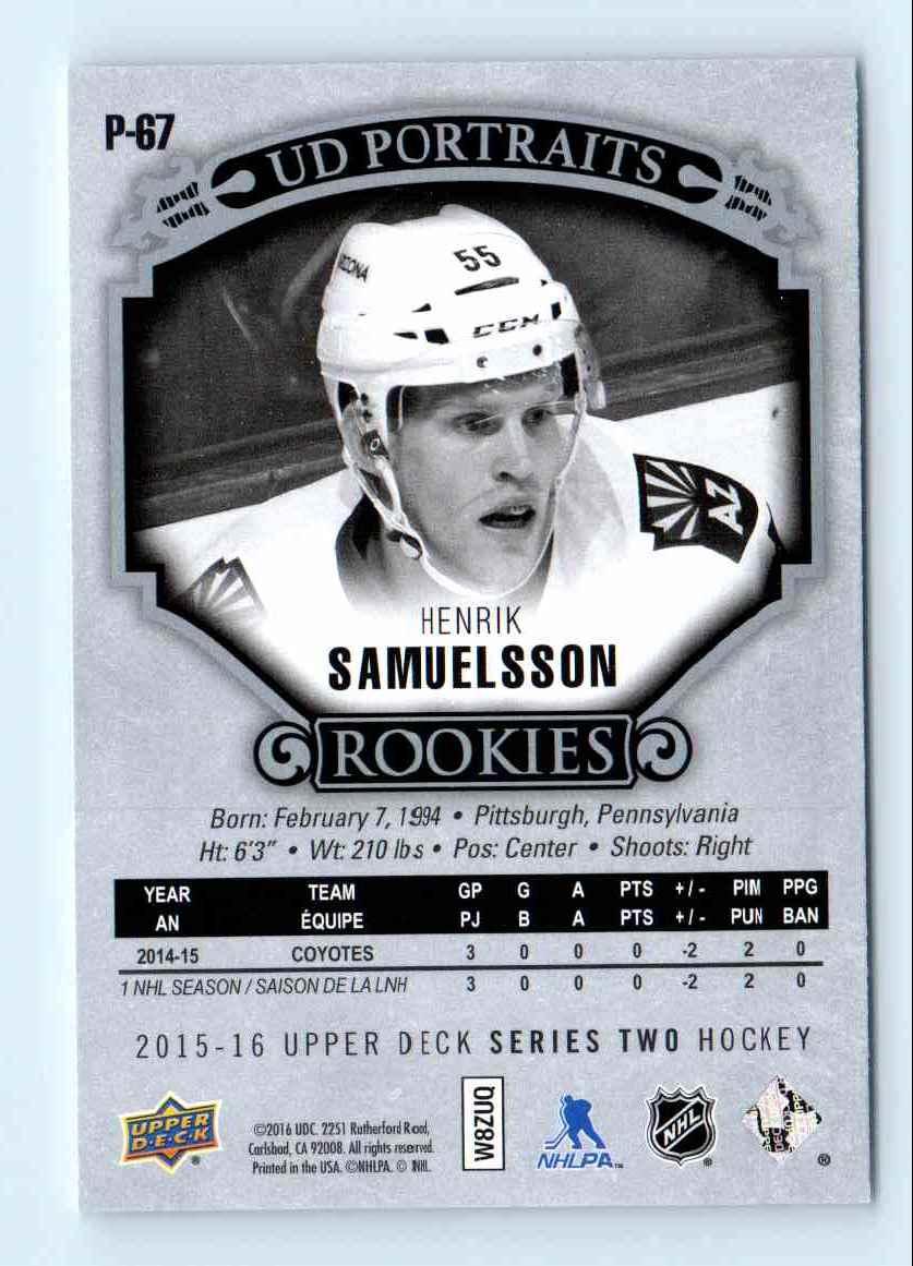 2015-16 Upper Deck Portraits Rookies Henrik Samuelsson #P-67 card back image