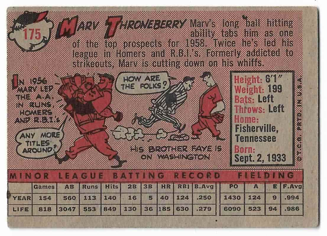 1958 Topps Marv Throneberry #175 card back image