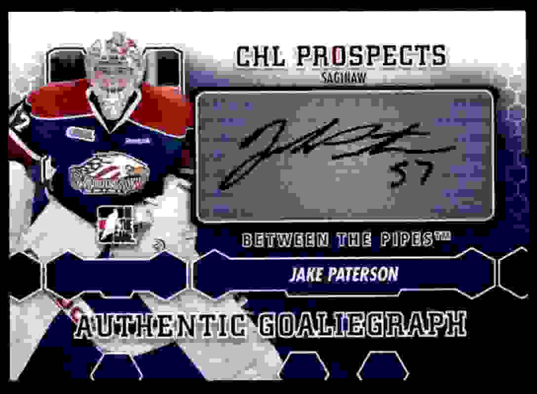 2012-13 In The Game Between The Pipes Goaliegraph Jake Patterson #A-JP card front image
