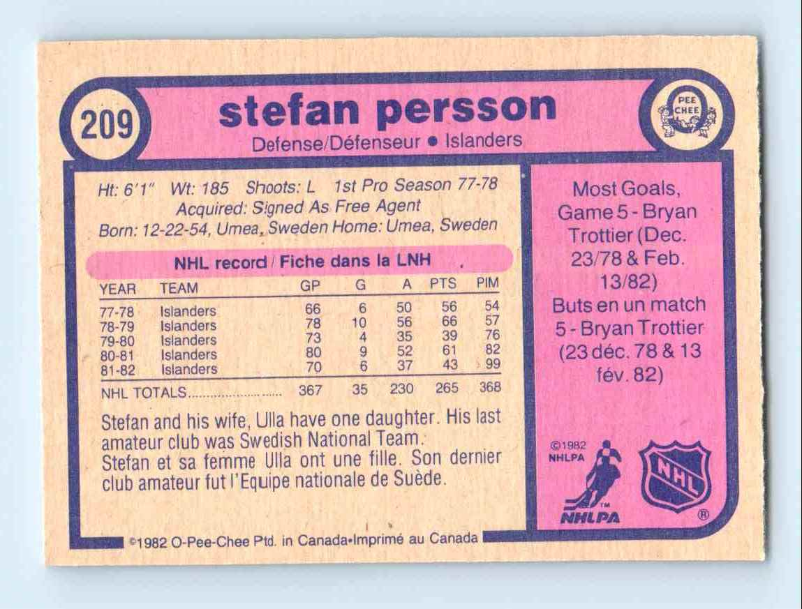 1982-83 O-Pee-Chee Stefan Persson #209 card back image