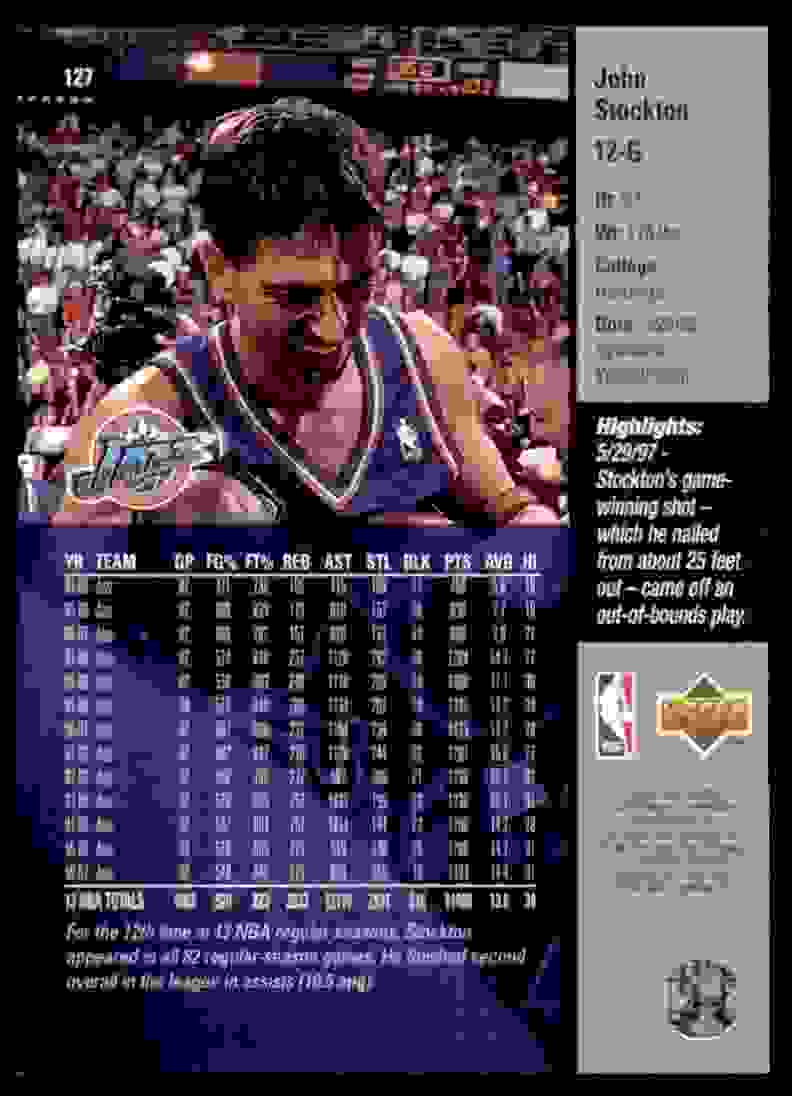 1997-98 Upper Deck John Stockton #127 card back image