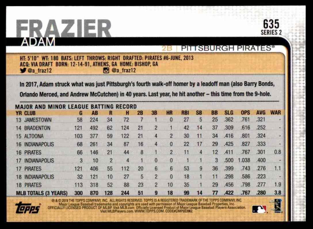 2019 Topps Series 2 Adam Frazier #635 card back image