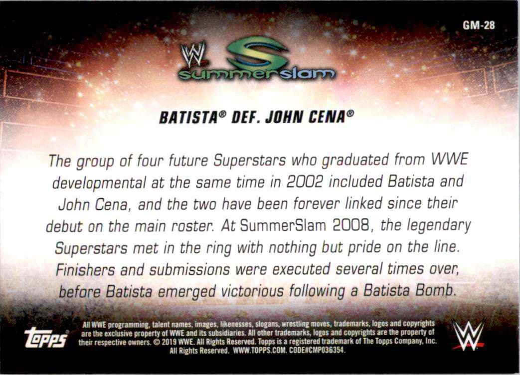 2019 Topps Wwe SummerSlam Greatest Matches And Moments Batista Def. John Cena #GM28 card back image
