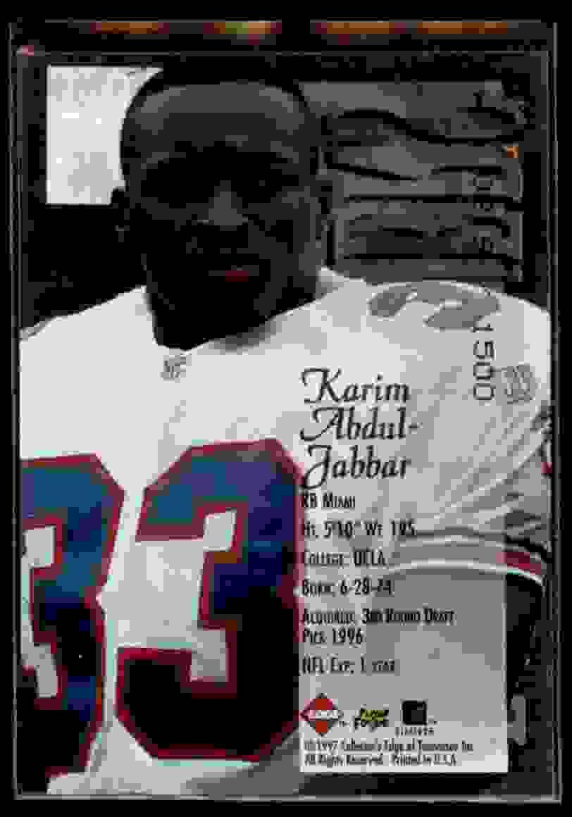 1997 Collector's Edge Extreme Forerunners Karim Abdul-Jabbar #1 card back image