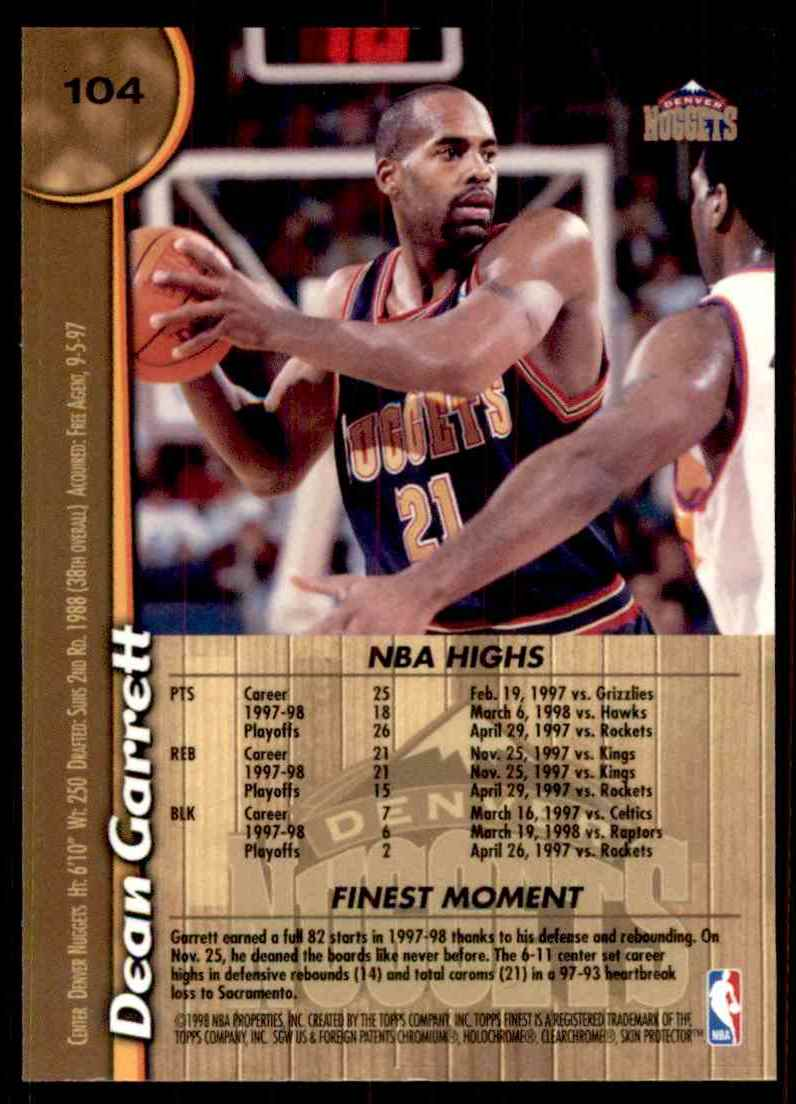 1998-99 Finest Dean Garrett #104 card back image