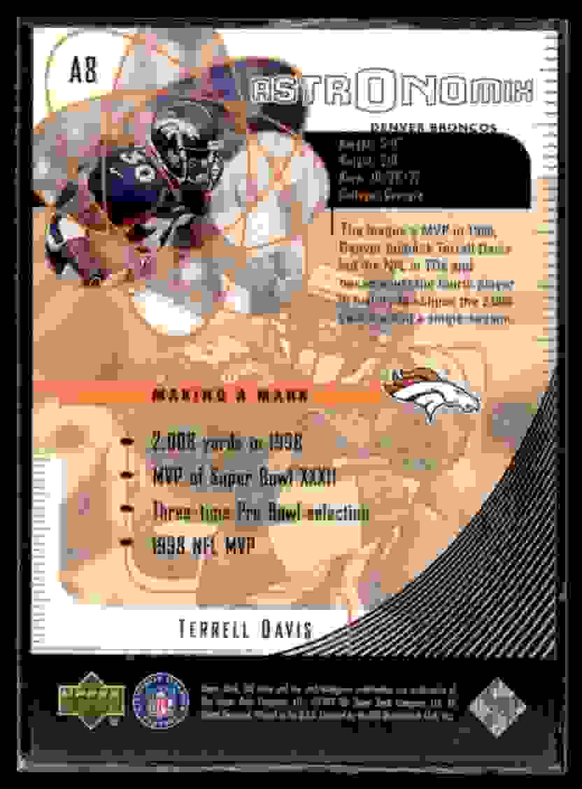 1999 UD Ionix Astronomix Terrell Davis #A8 card back image