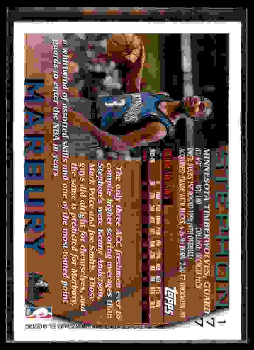 1996-97 Topps Stephon Marbury RC #177 card back image