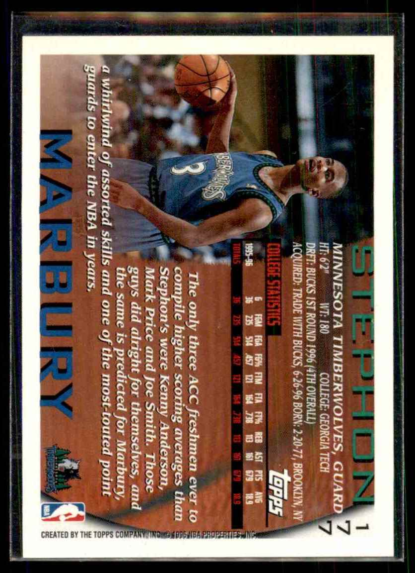 1996-97 Topps Stephon Marbury RC #177 card back image