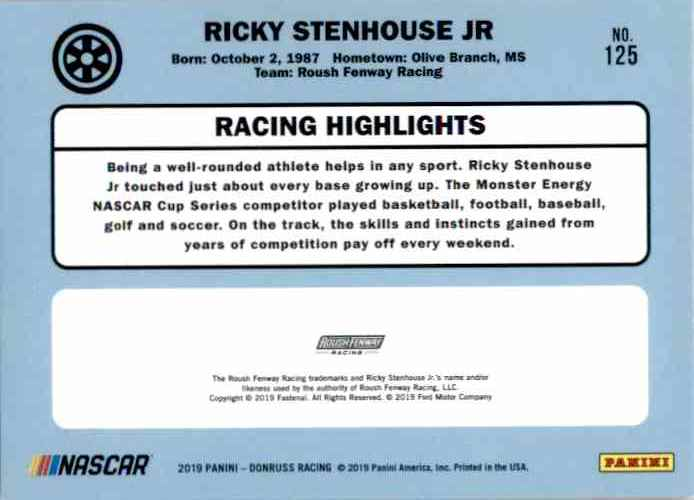 2019 Donruss Ricky Stenhouse JR. #125 card back image