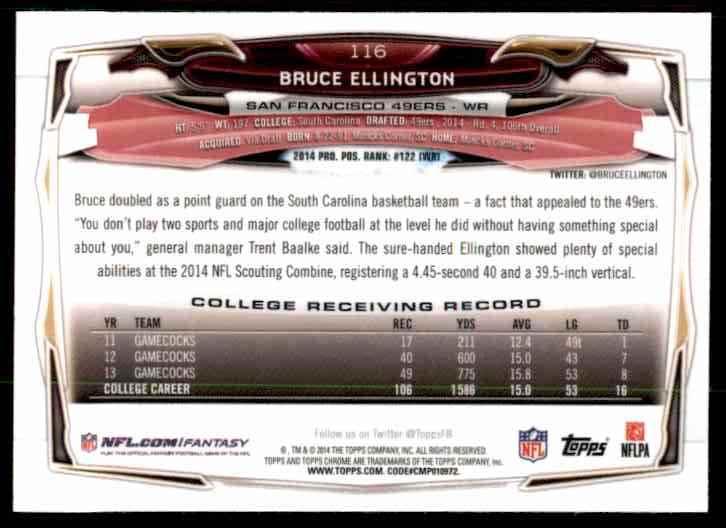 2014 Topps Chrome Refractors Bruce Ellington #116 card back image