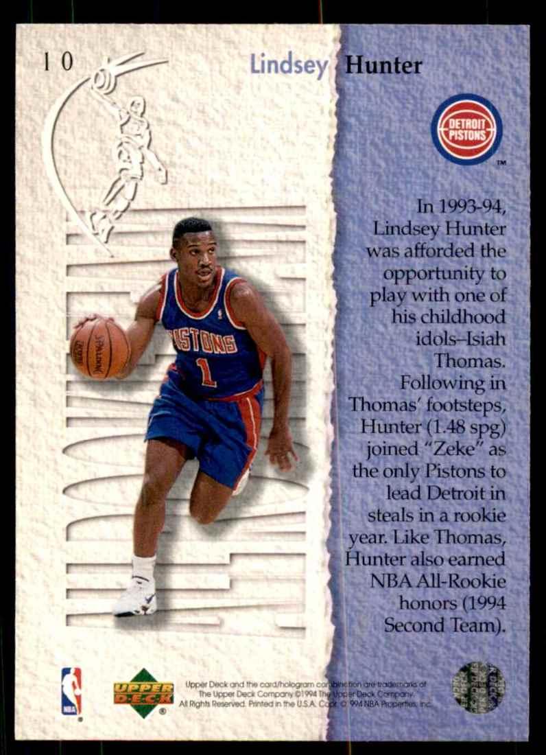 1994-95 Upper Deck Lindsey Hunter Art #10 card back image
