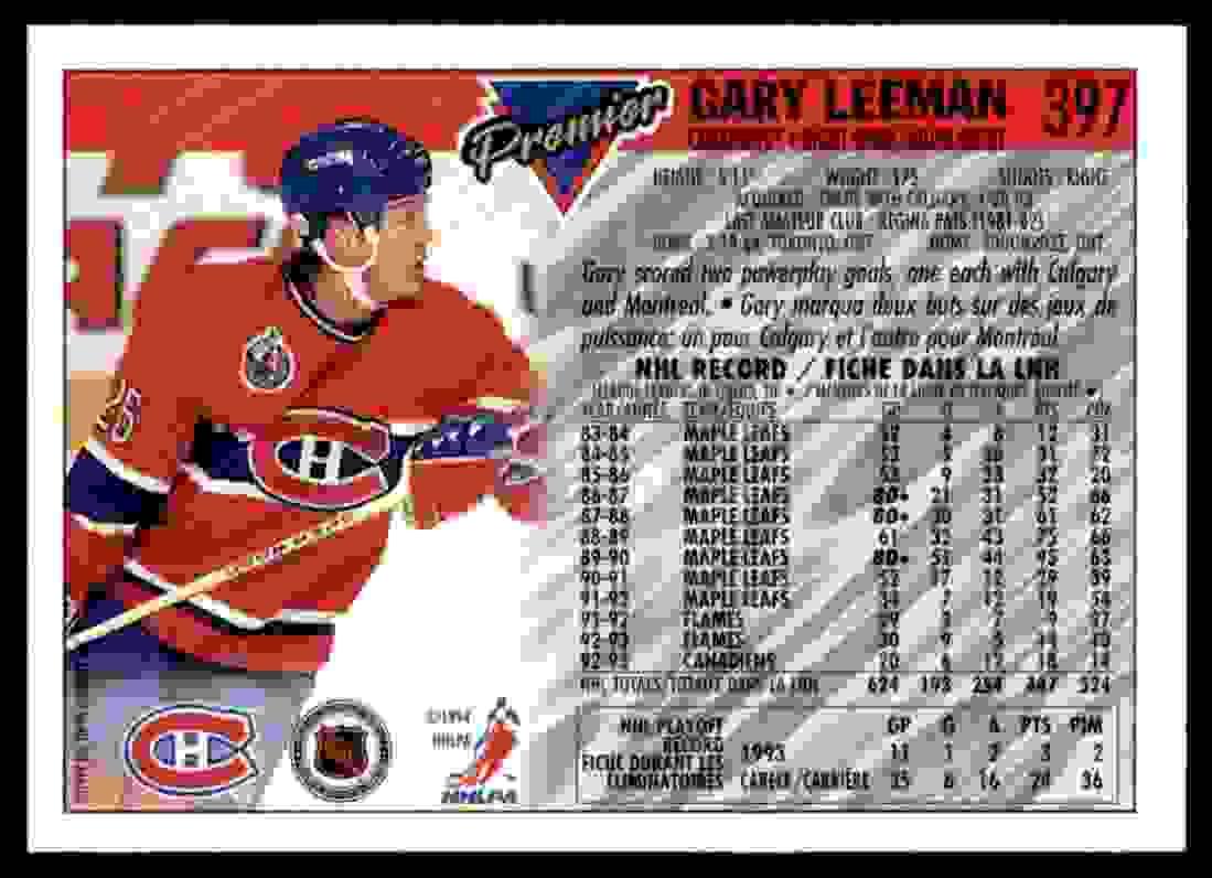 1993-94 Topps Premier Gary Leeman #397 card back image