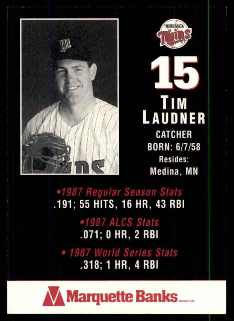 1988 Marquette Banks Tim Laudner #15 card back image