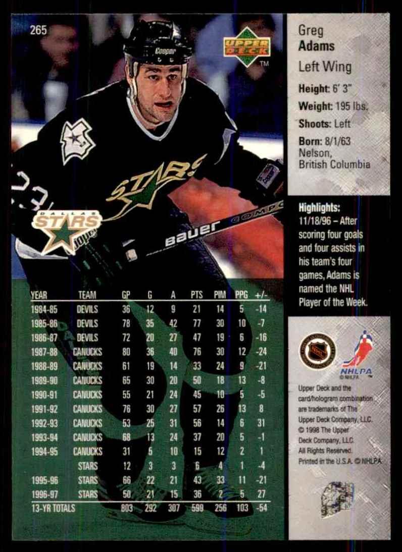 1997-98 Upper Deck Greg Adams #265 card back image
