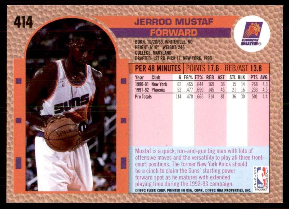 1992-93 Fleer Jerrod Mustaf #414 card back image