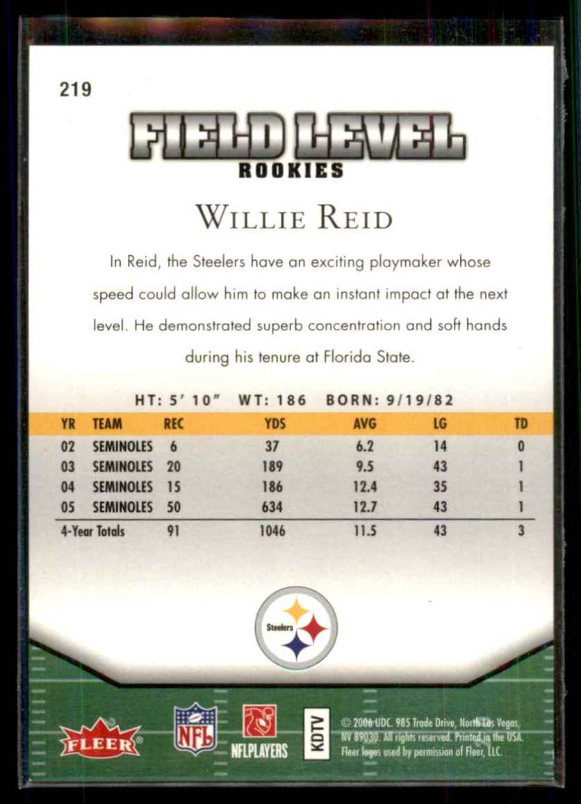 2006 Flair Showcase Willie Reid RC #219 card back image