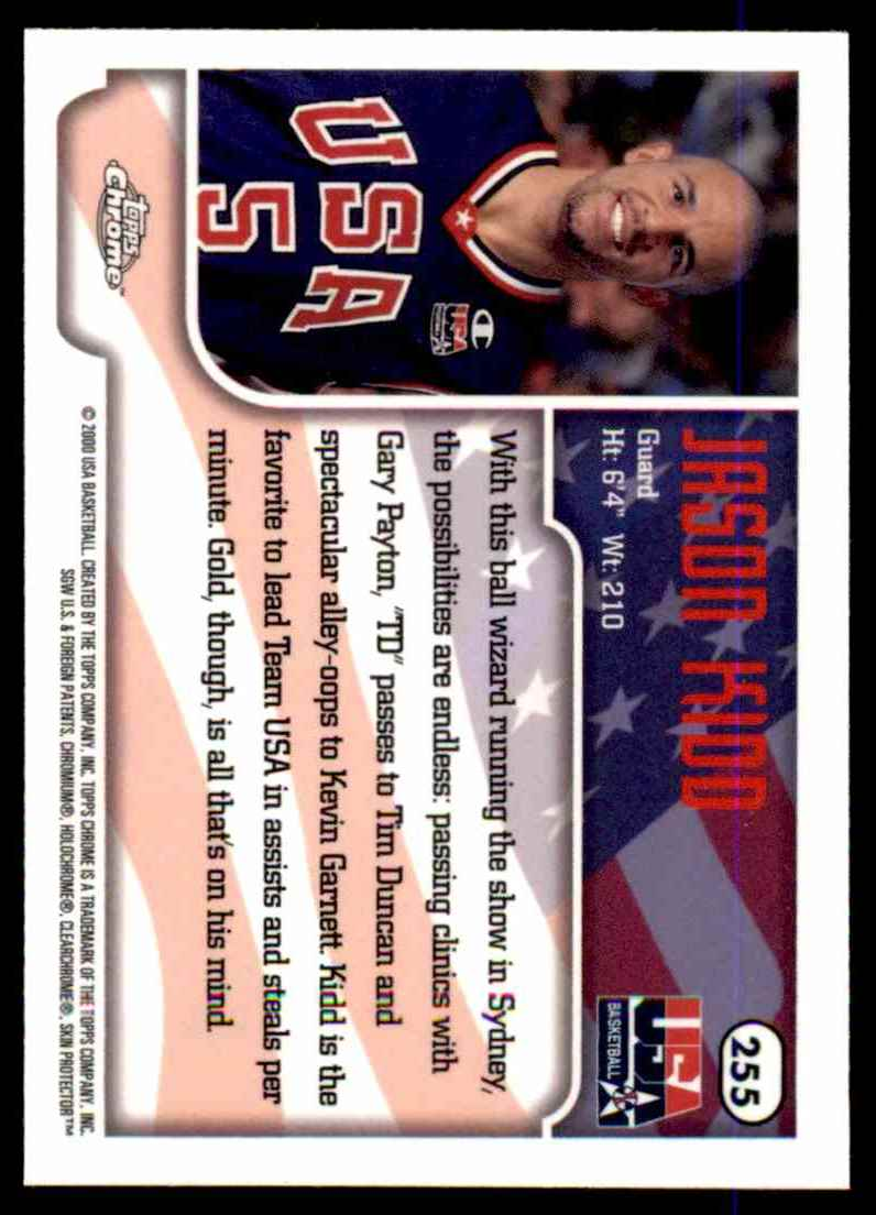 1999-00 Topps Chrome Jason Kidd USA #255 card back image