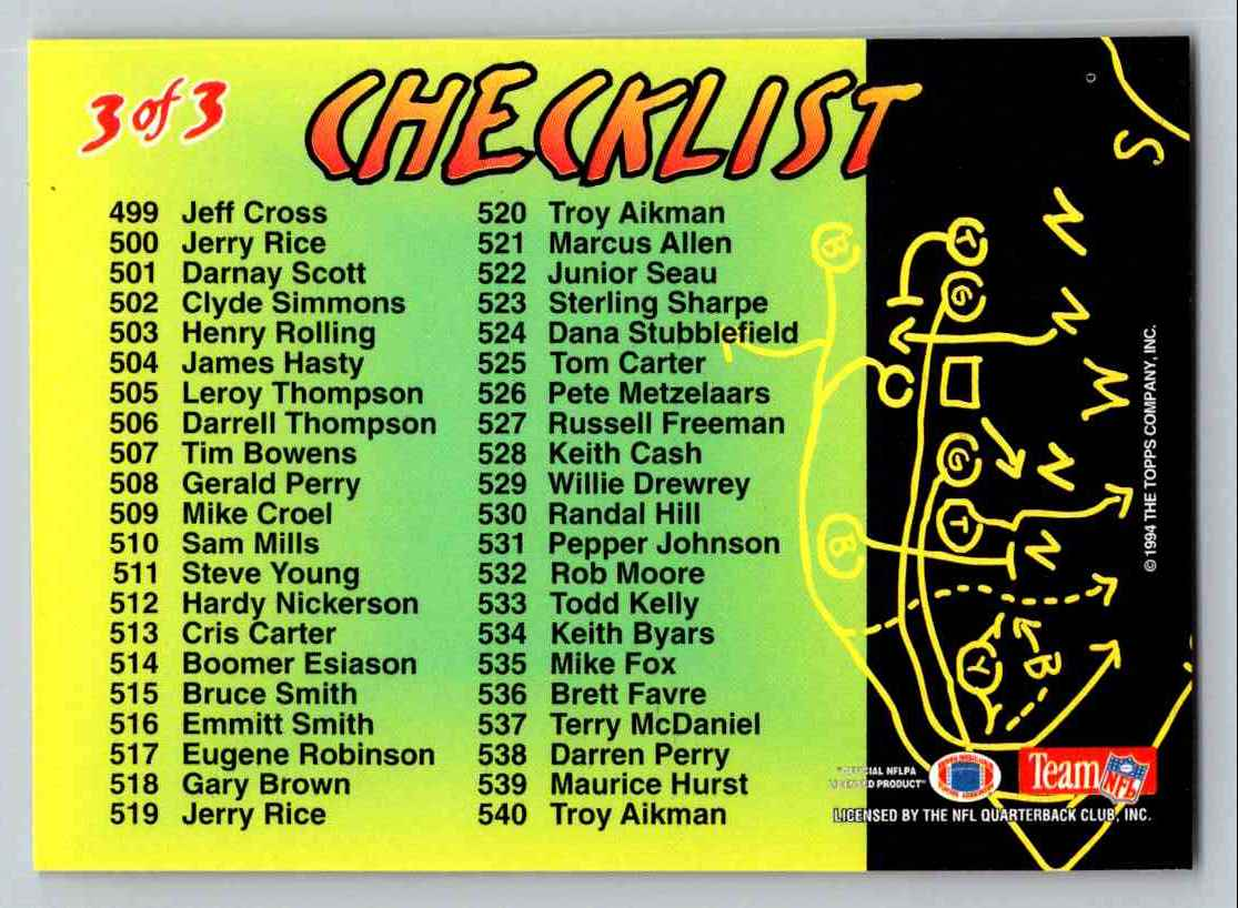 1994 Tops Stadium Club Checklist #3 OF 3 card back image