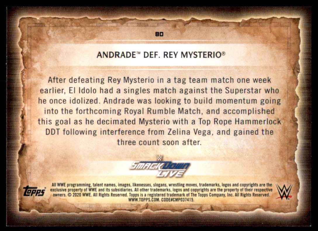 2020 Topps Wwe Road To WrestleMania Andrade / Rey Mysterio #80 card back image