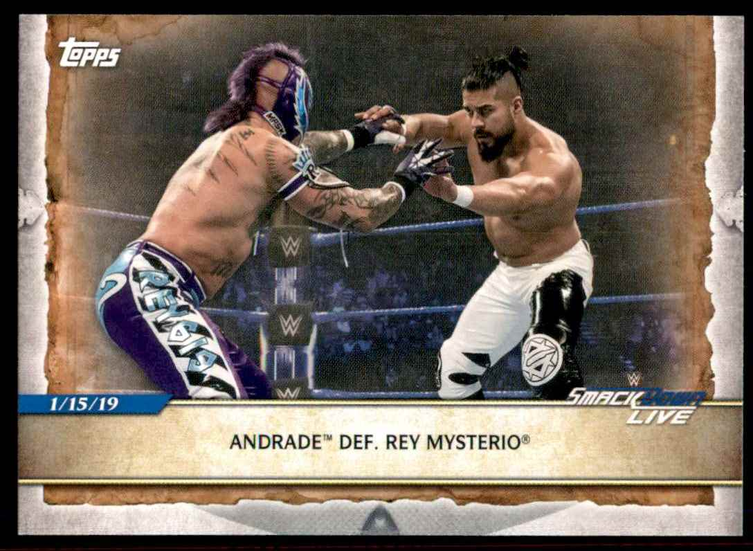 2020 Topps Wwe Road To WrestleMania Andrade / Rey Mysterio #80 card front image