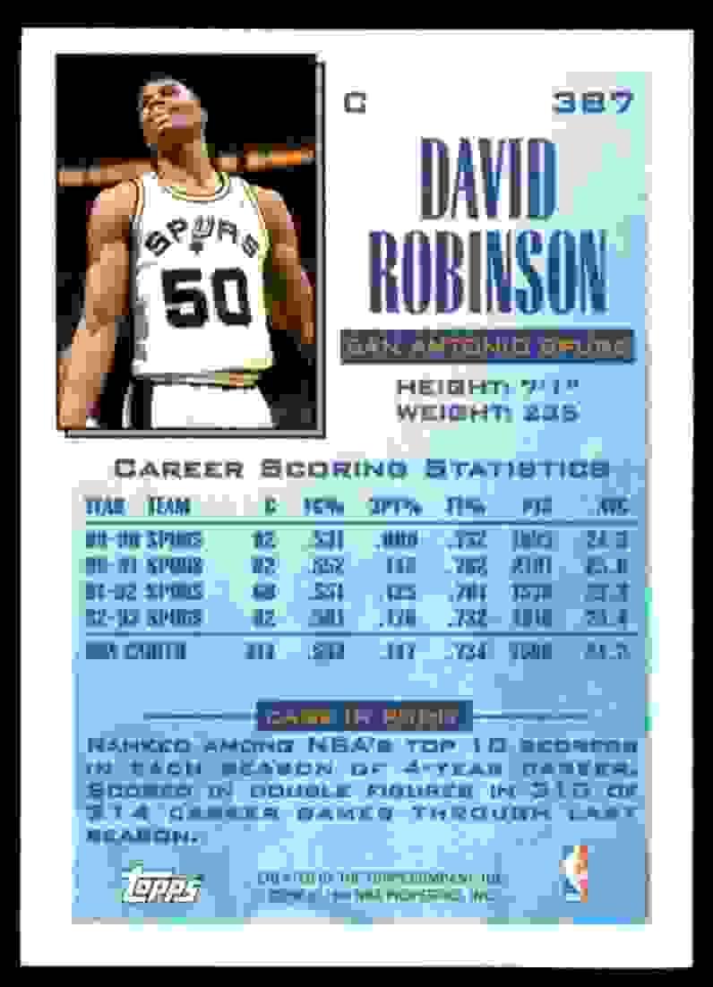 1993-94 Topps David Robinson #387 card back image