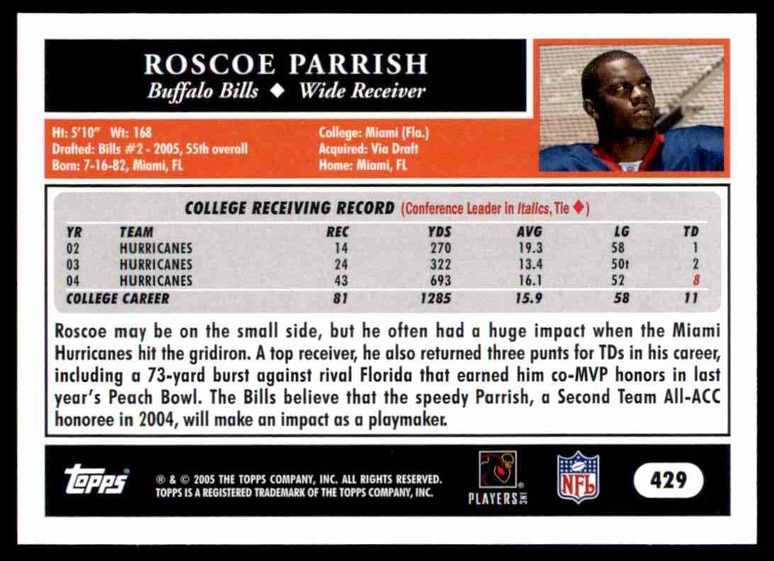 2005 Topps Roscoe Parrish #429 card back image
